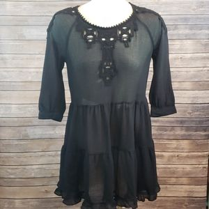 FREE PEOPLE Black Eyelet Dress size S